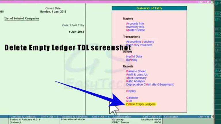 Delete empty ledger tdl screenshot