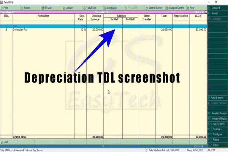 Depreciation TDL Screenshot