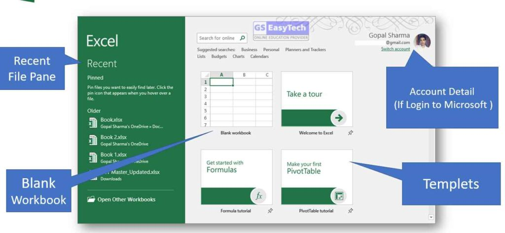 Excel 2019 first Screen